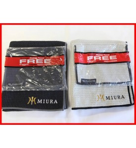 Miura Golf Custom Logo Club Glove Microfiber Caddy Golf Towels Black / Gray Set
