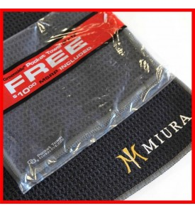 Miura Golf Custom Logo Club Glove Microfiber Caddy Free Pocket Golf Towels Black