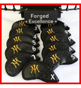 Miura Golf Magnetic Iron Headcover Full Set Authentic 11 Pc Black 3I~P/A/S/X
